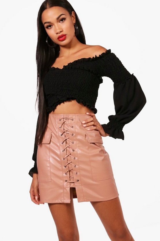 Trixie Leather Look Lace Up Pocket Side Skirt