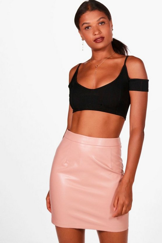 Leather Look A Line Mini Skirt