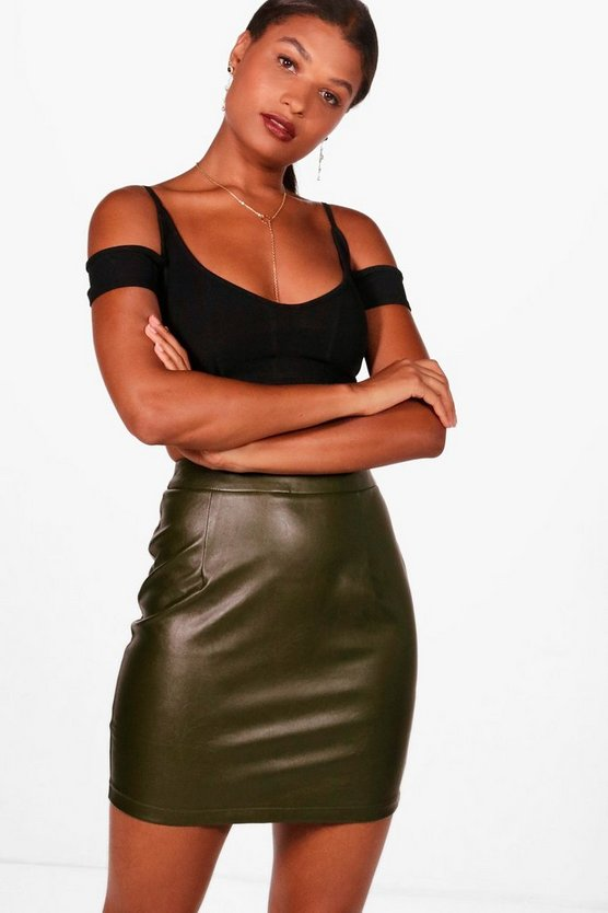 Iman Leather Look A Line Mini Skirt