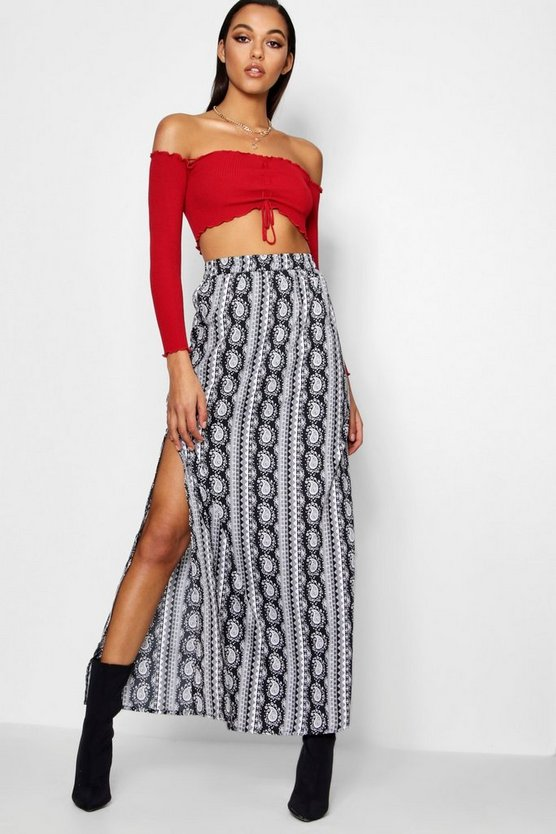 Annika Monochrome Mix Print Side Split Maxi Skirt