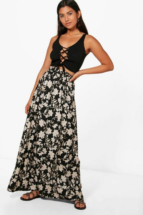 Jorga Dark Floral Floor Sweeping Maxi Skirt