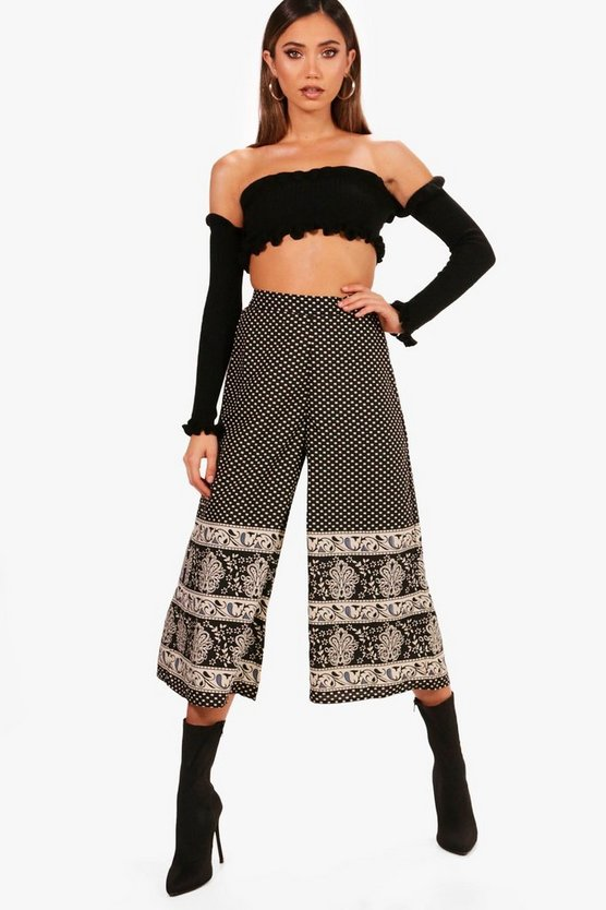 Dawna Border Print Wide Leg Trousers