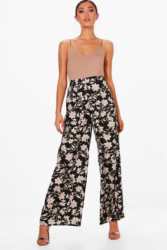 Kaisa Dark Floral Wide Leg Trousers