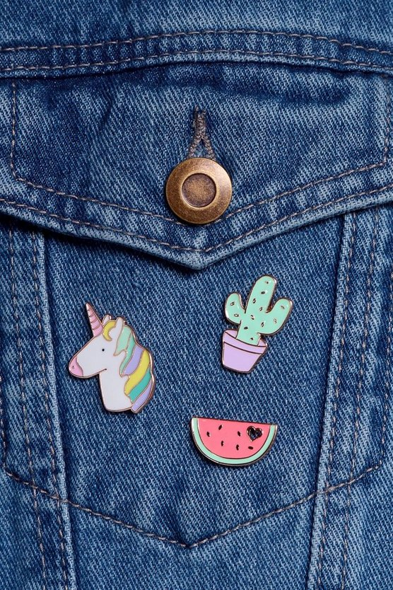 Lara Unicorn Cactus Watermelon Pin Badge Set