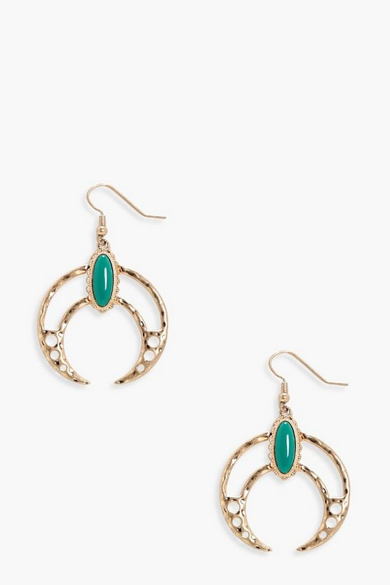 Diana Stone Detail Boho Horn Shape Earrings
