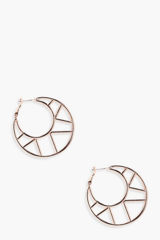 Leila Geo Cut Out Hoop Earrings
