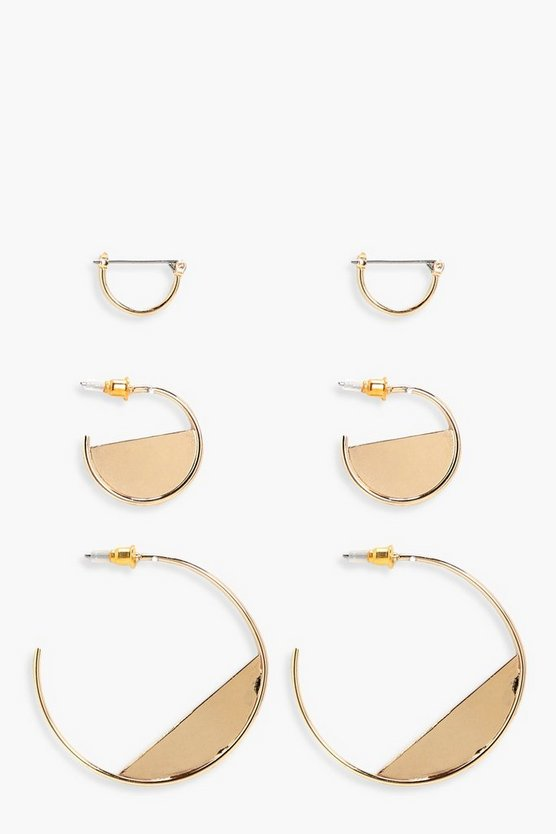 Julia Half Filled Hoop Earring 3 Pack