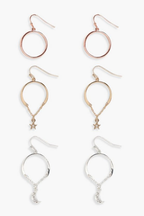 Anna Mixed Metal And Charm Hoop Earring Set