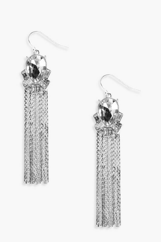 Imogen Boutique Diamante Detail Tassel Earrings