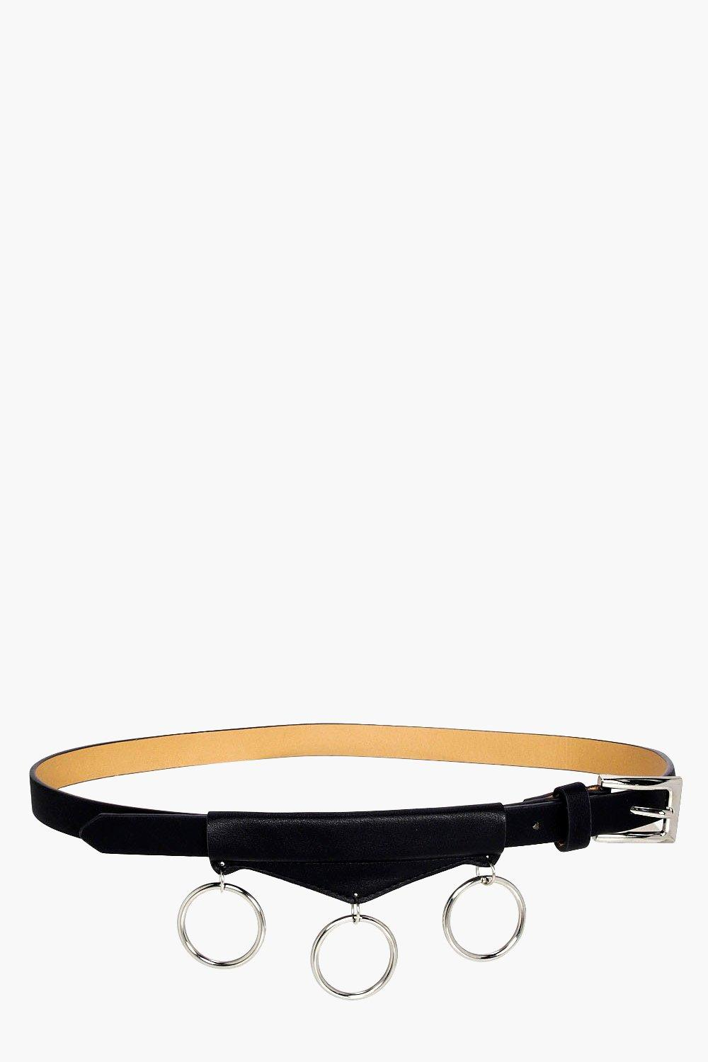Circle Rings Detail Boyfriend Belt - black - Maddi