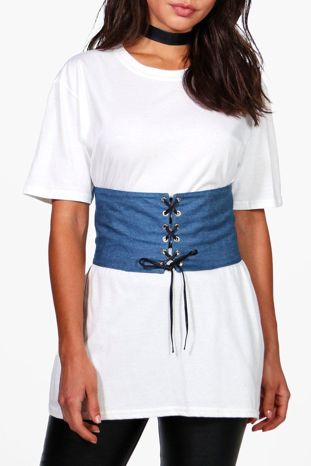 Denim Lace Up Corset Belt - blue - Tilly Denim Lac