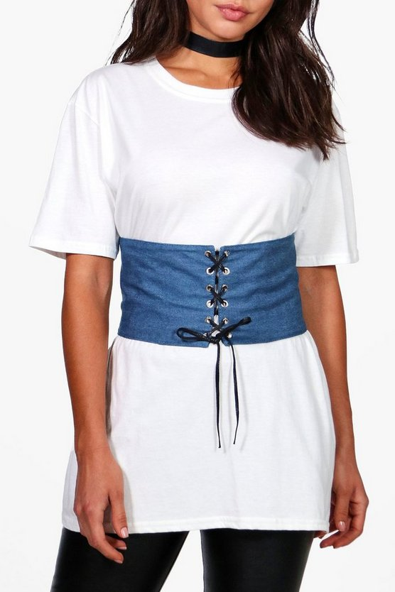 Tilly Denim Lace Up Corset Belt