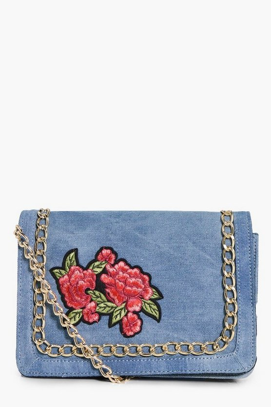 Lydia Embroidered Chain Cross Body Bag