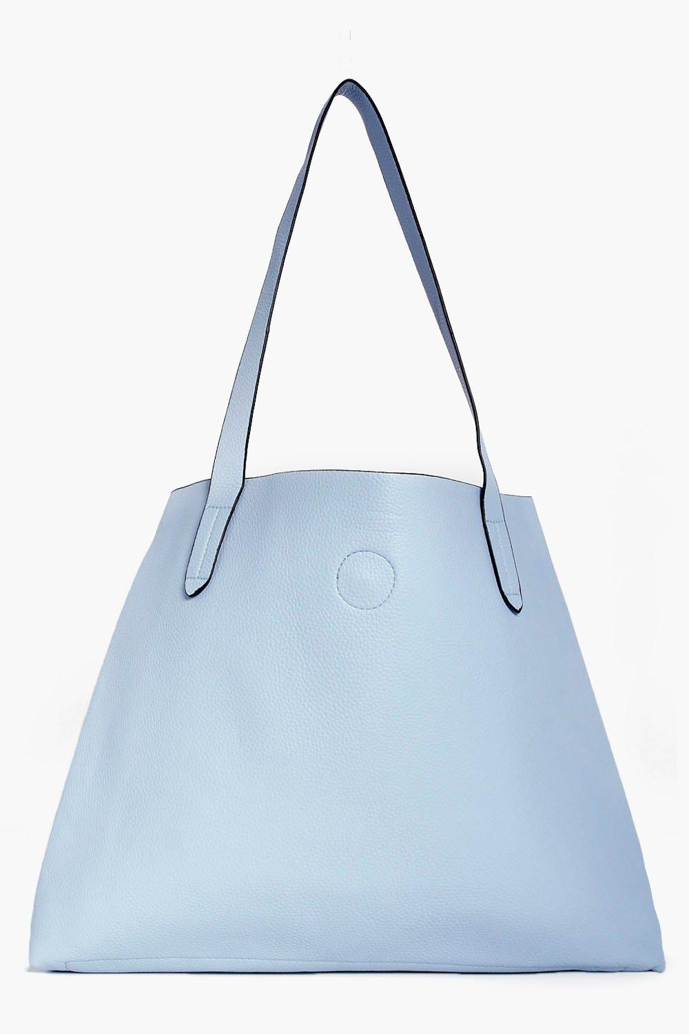 Basic Popper Shopper Bag - pale blue - Victoria Ba