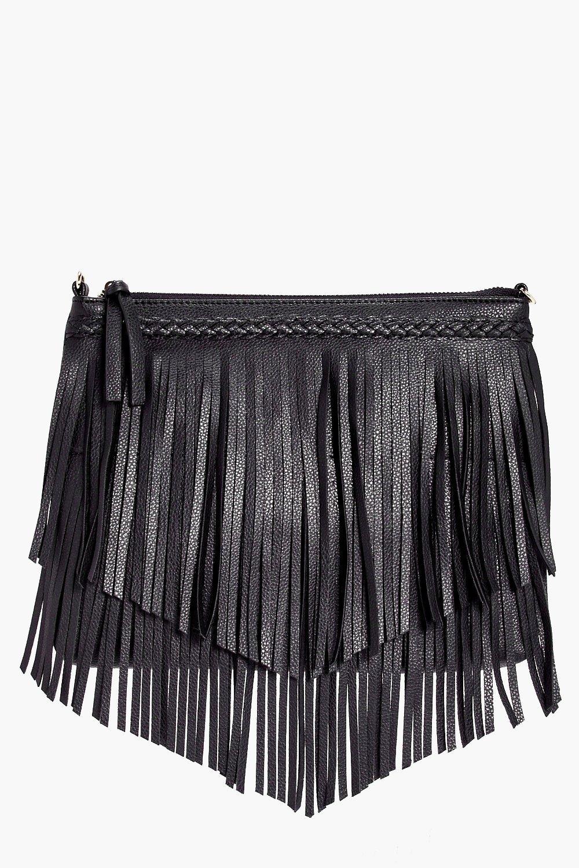 Plait And Fringed Cross Body Bag - black - Maisy P
