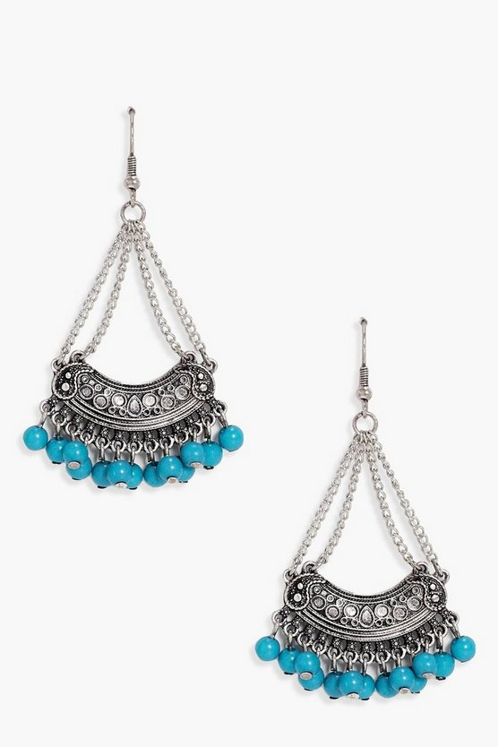 Natalia Boho Turquoise Bead Earrings