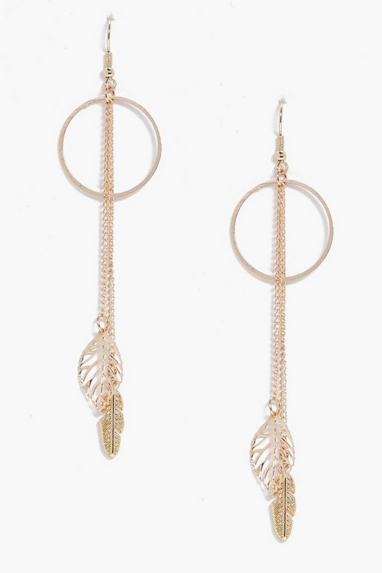 Lara Hoop Leaf & Feather Earrings