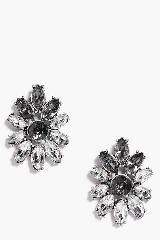 Violet Boutique Diamante Floral Earrings