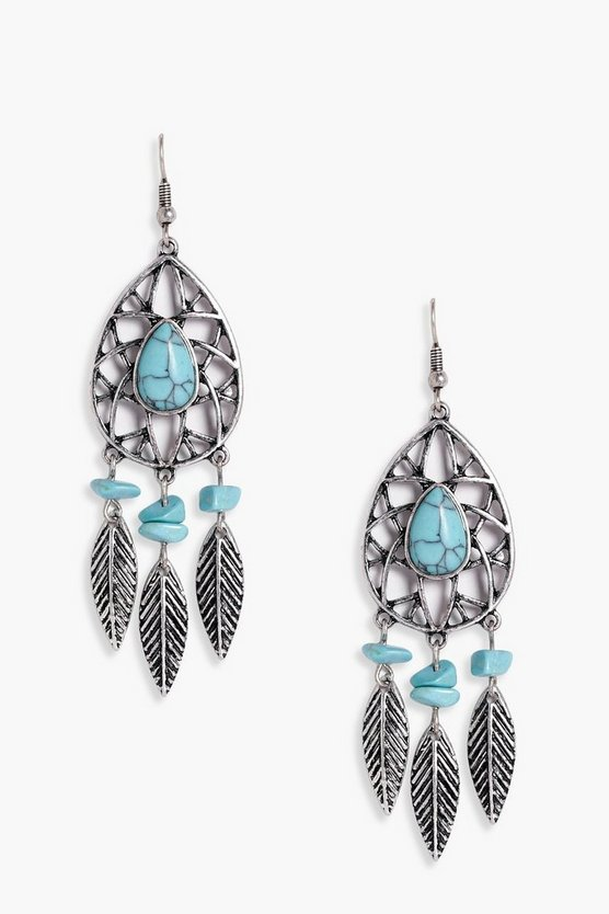 Victoria Stone Detail Dreamcatcher Earrings