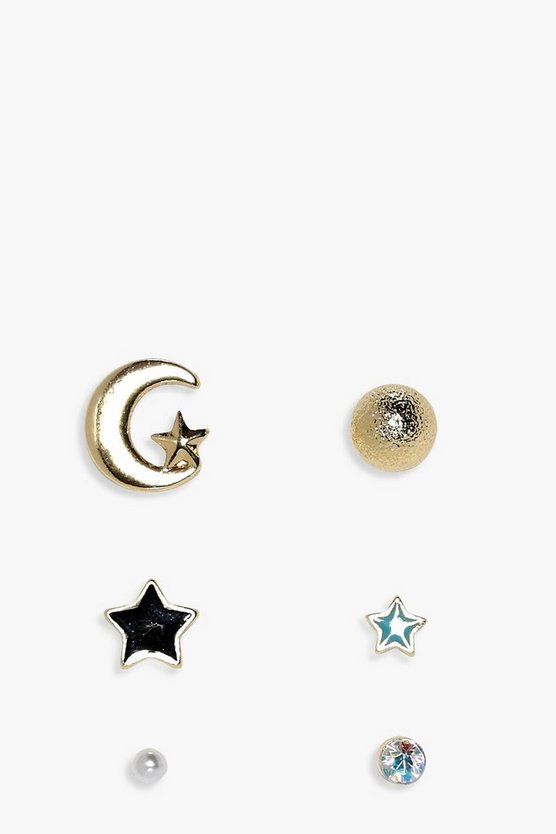 Mya Moon & Star Mixed Earrings 5 Pack
