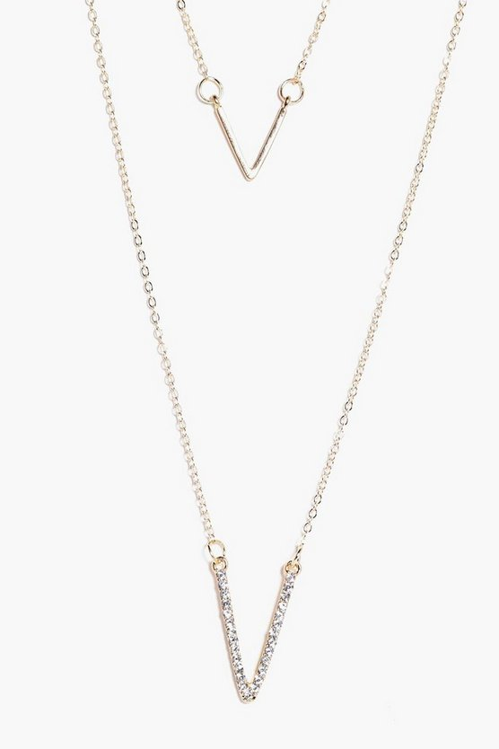 Anya Diamante Layered Chevron Necklace