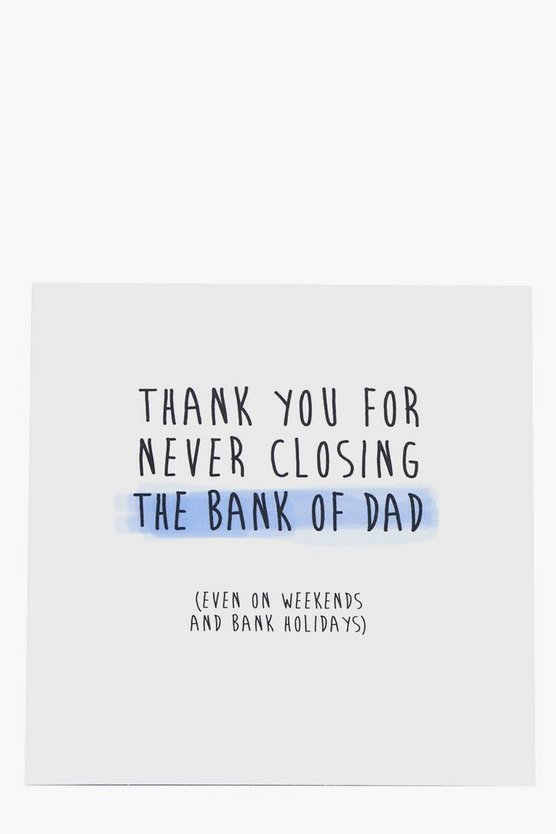Thank You Bank Of Dad Fathers Day Card