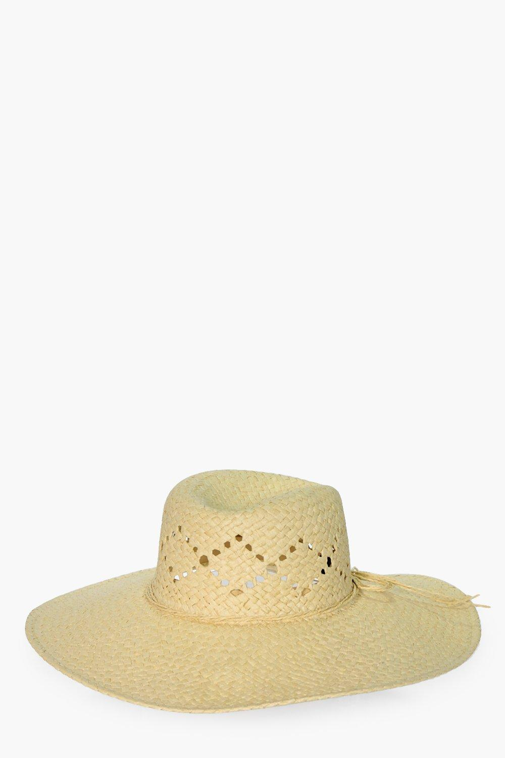 Basic Straw Trim Floppy Hat - natural - Clara Basi