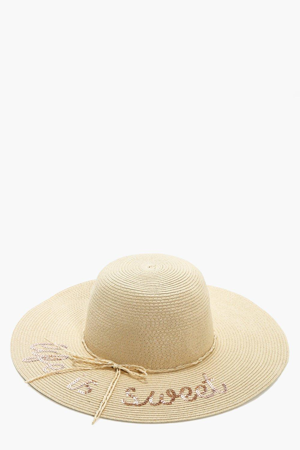 Sequin Slogan Straw Hat - natural - Louise Sequin