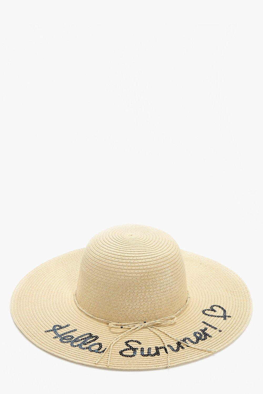 Sequin Slogan Straw Hat - natural - Macy Sequin Sl