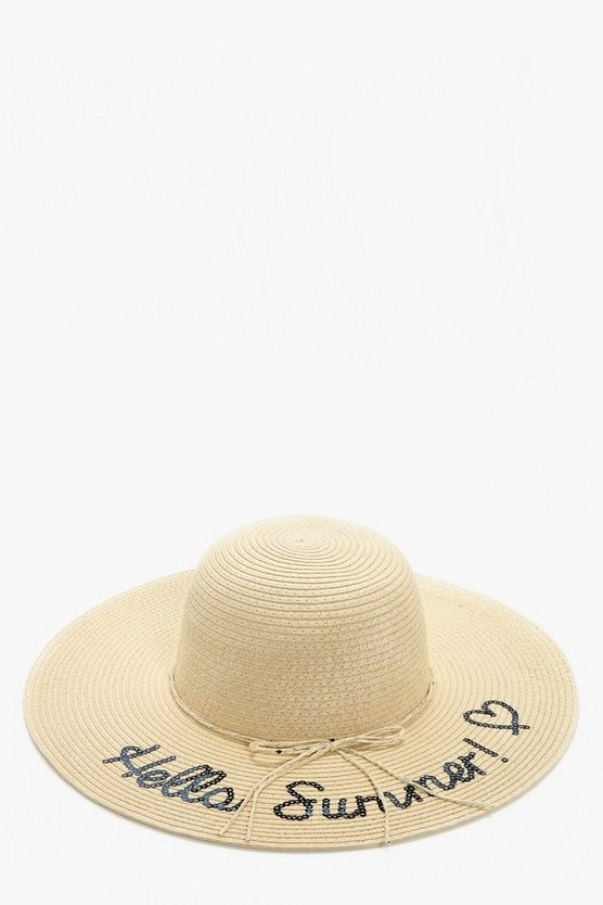 Macy Sequin Slogan Straw Hat