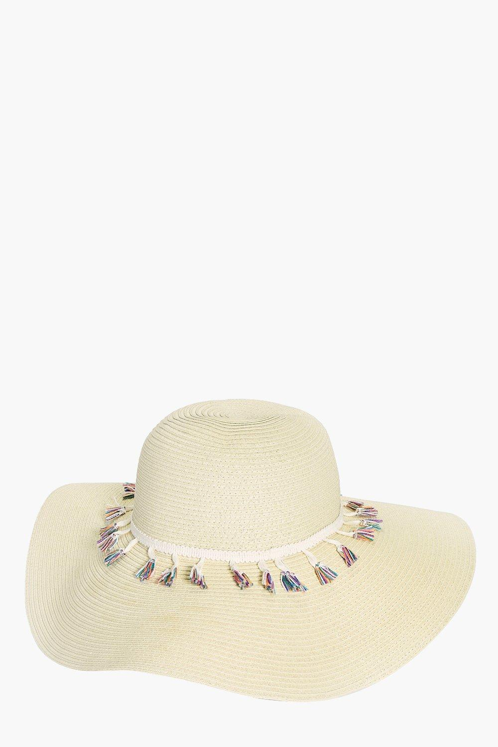 Fringe Trim Floppy Hat - natural - Kate Fringe Tri