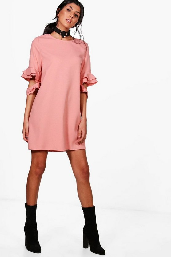 Esther Ruffle Sleeve Shift Dress
