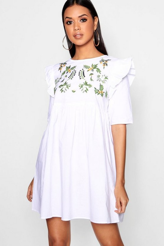 Jess Embroidered Smock Ruffle Dress