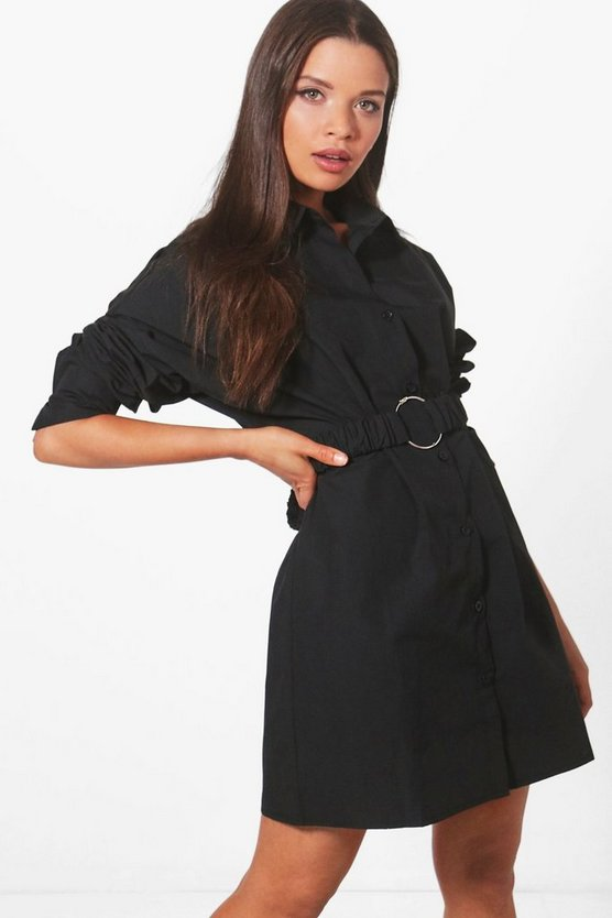 Millie O Ring Belted Shirt Dress
