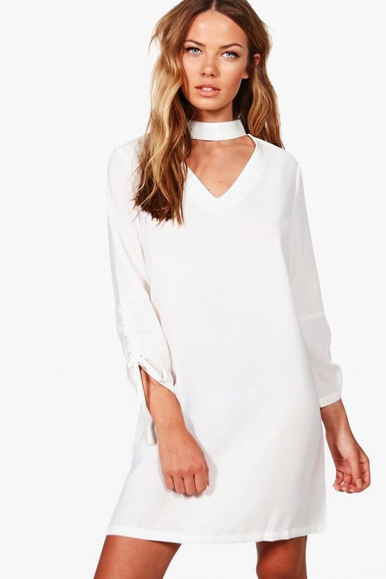 Choker Plunge Tie Sleeve Shift Dress