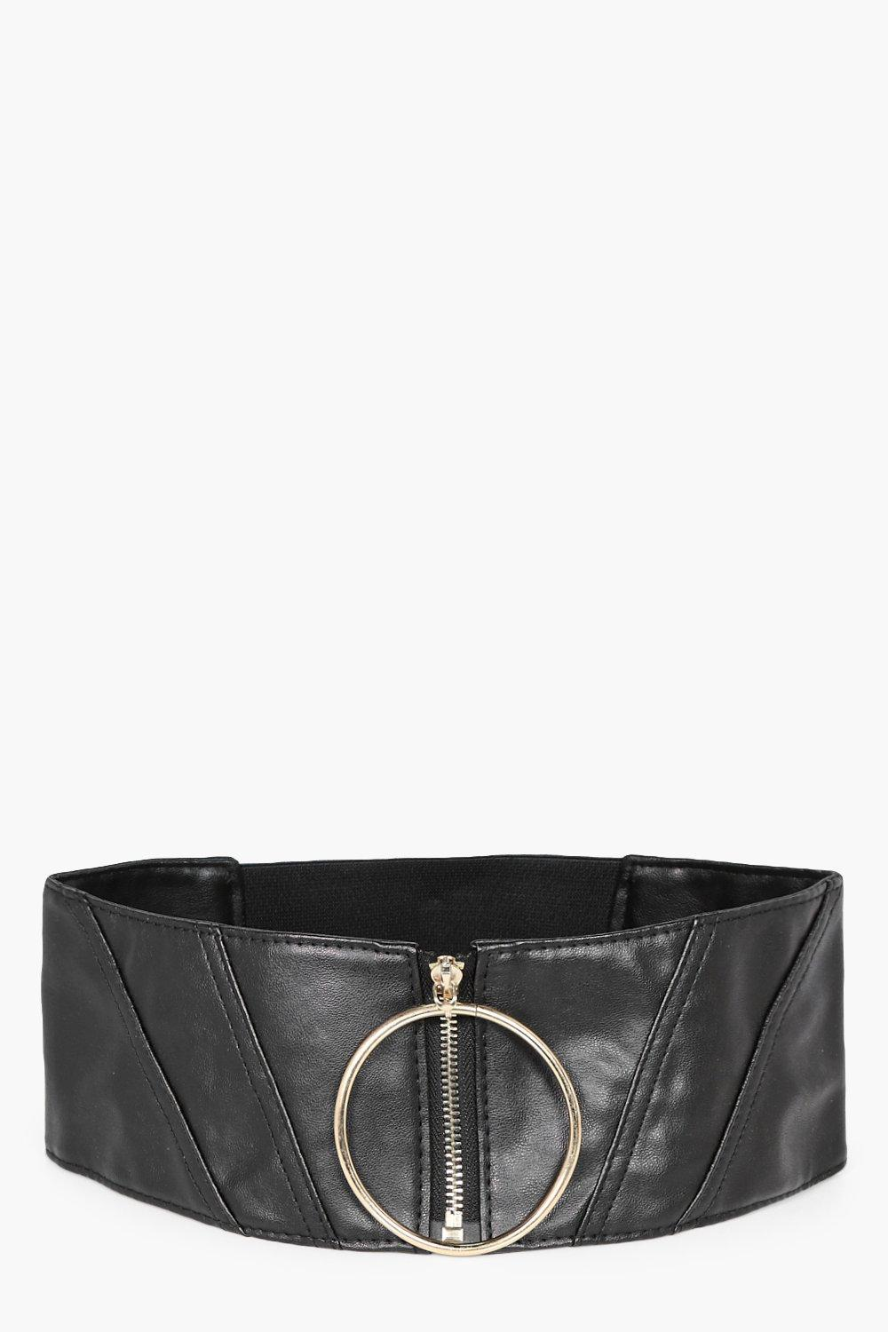 Oversized Ring & Zip Waist Belt - black - Olivia O