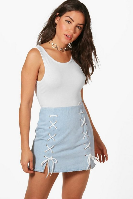 Laura Lace Up Micro Mini Denim Skirt