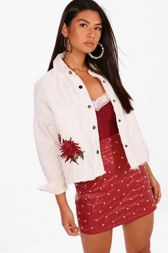 Lauren Boxy Crop Embroidered Denim Jacket