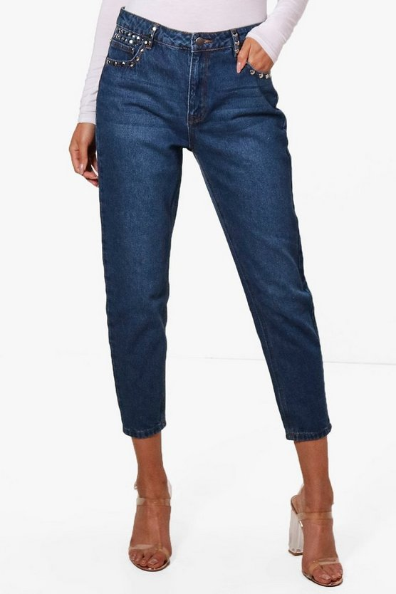 High Rise Stud Detail Boyfriend Jeans