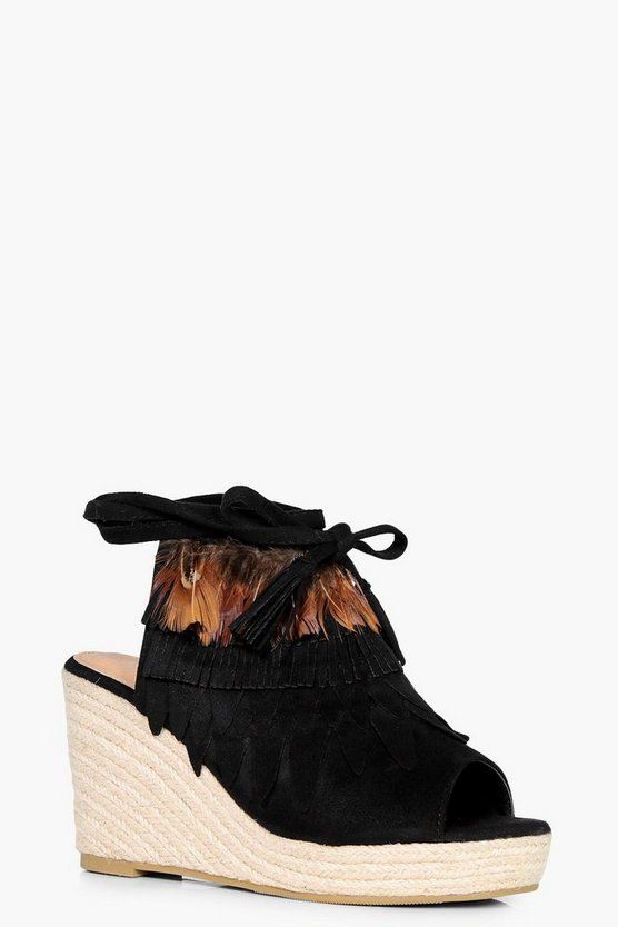 Megan Peeptoe Feather Trim Espadrille Wedge