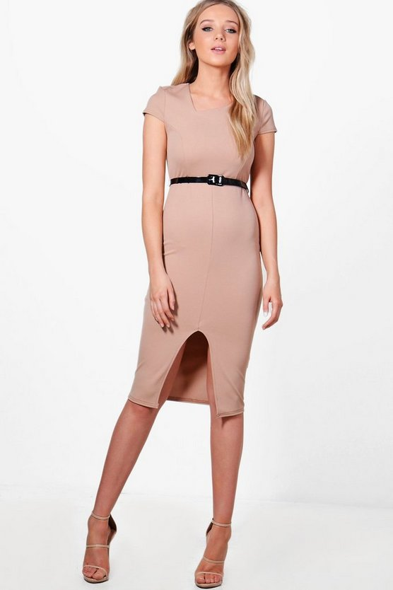Oana Cap Sleeve Belted Midi Dress