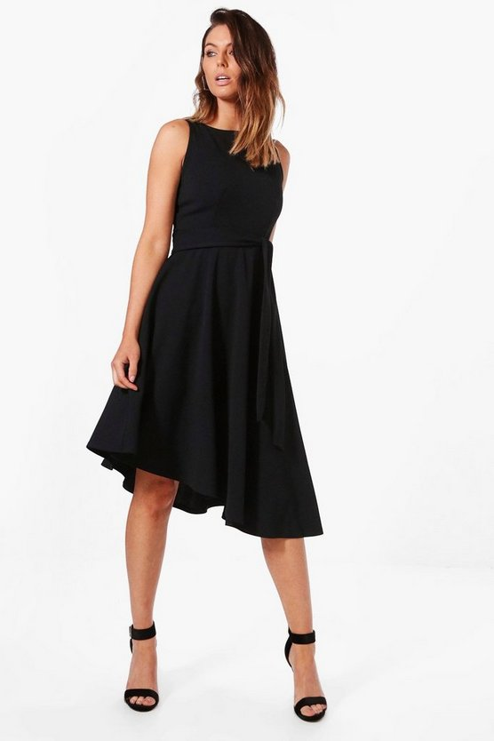 Poppy Asymetric Formail Midi Skater Dress
