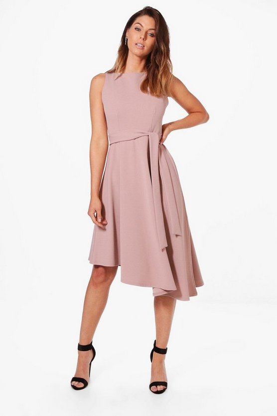 Poppy Asymmetric Formal Midi Skater Dress