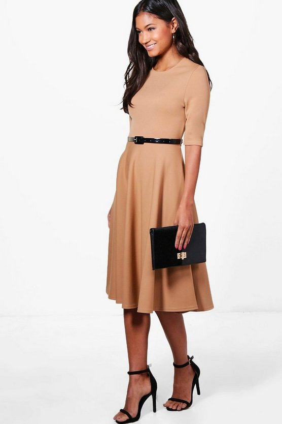 Ava Belted Midi Skater Dress