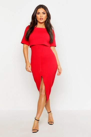 Red Layered Wrap Wiggle Midi Dress