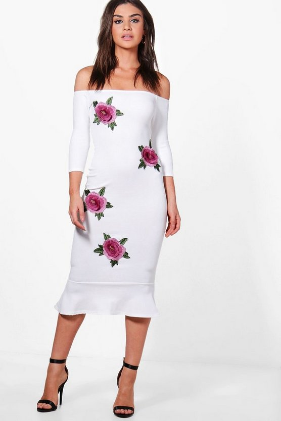 Jessica Off Shoulder Applique Flute Hem Midi Dress
