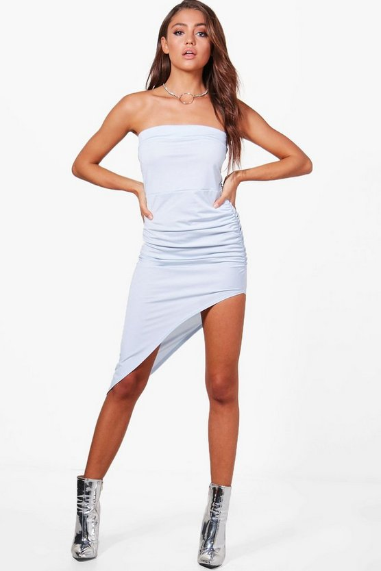 Slinky Bandeau Ruched Midi Dress