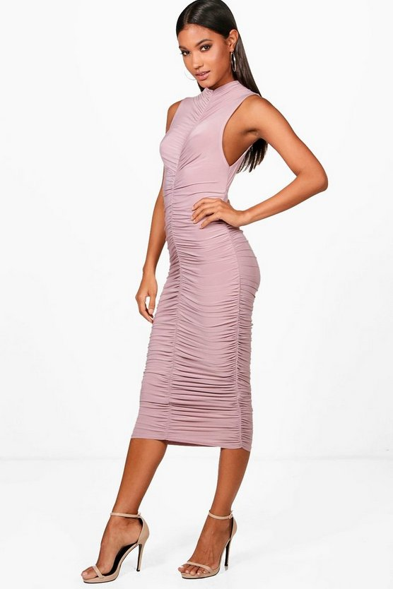 Charlene High Neck Ruched Midi Dress