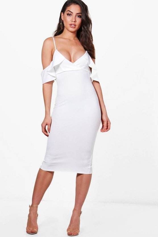 Xenia Cold Shoulder Frill Midi Dress