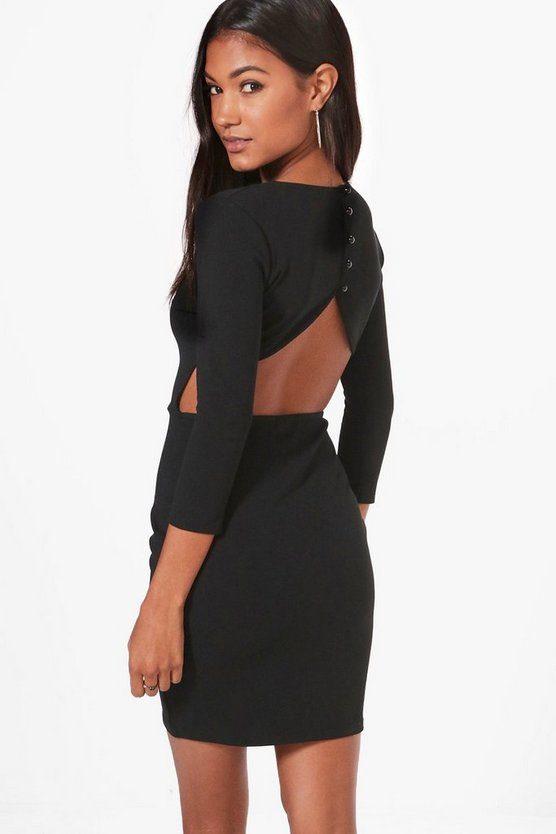 Kendra Curved Back Button Bodycon Dress